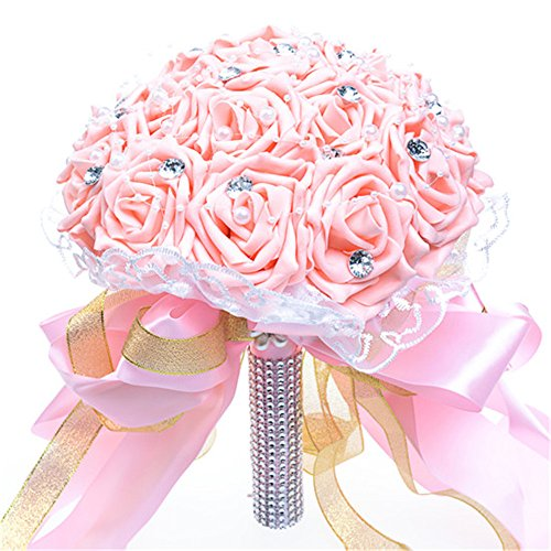 anmor Artificial Foam Rose Flowers Bouquet Crystal Lace Bridal Wedding Bouquets ARWF012