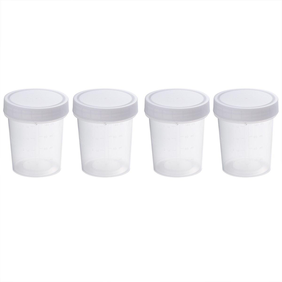 UKCOCO 4Pcs 120ML pratique en plastique spécimen tasse avec échelle stérile conteneur sans utilisation médicale de laboratoire de Lable (blanc)