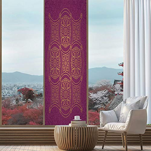 Privacy Frosted Decorative Vinyl Decal Window Film,Purple Mandala,for Bathroom, Kitchen, Home, Easy to Install,Persian Ornamental Lace Pattern Traditonal Authentic Arabic Folkloric,24''x78''