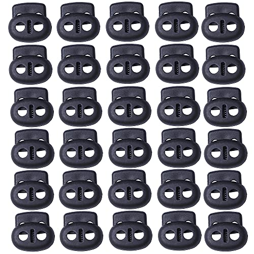 J.CARP Plastic Cord Locks End Spring Toggle Stopper, Double Hole Elastic Cord Adjuster, Suit for Drawstrings, Bags, Shoelaces, Clothing, Paracord, and More (30Pcs, Black)
