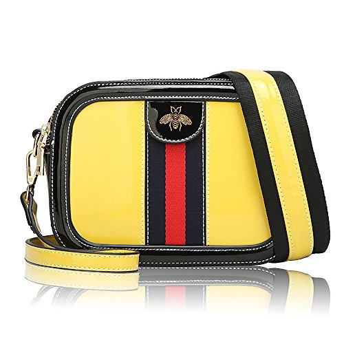 Women Genuine Leather Designer Shoulder Bag Camera Crossbody Bag Mini Bee Handbag (Yellow Mini Handbag)