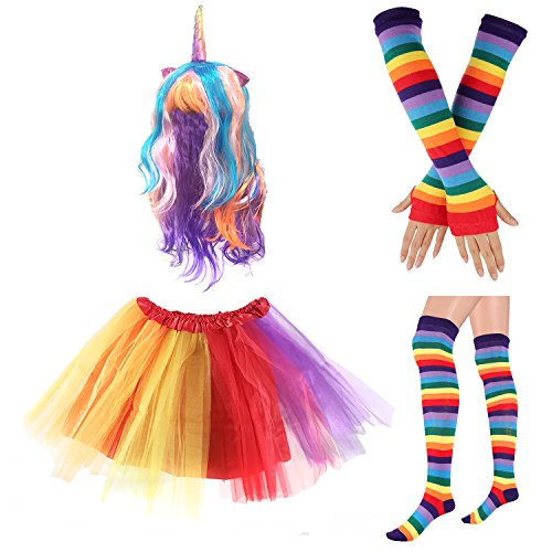 (80s Womens Accessory,Tutu Skirt,Unicorn Headband, Unicorn Wigs Rainbow Long Gloves Socks,Rainbow Adjustable Suspenders w/Bow-tie)