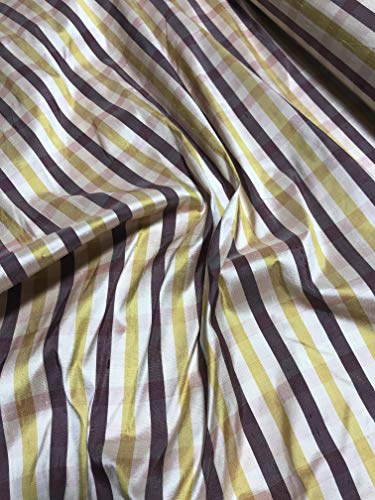 Gold & Plum Plaid - Silk Dupioni Fabric ()