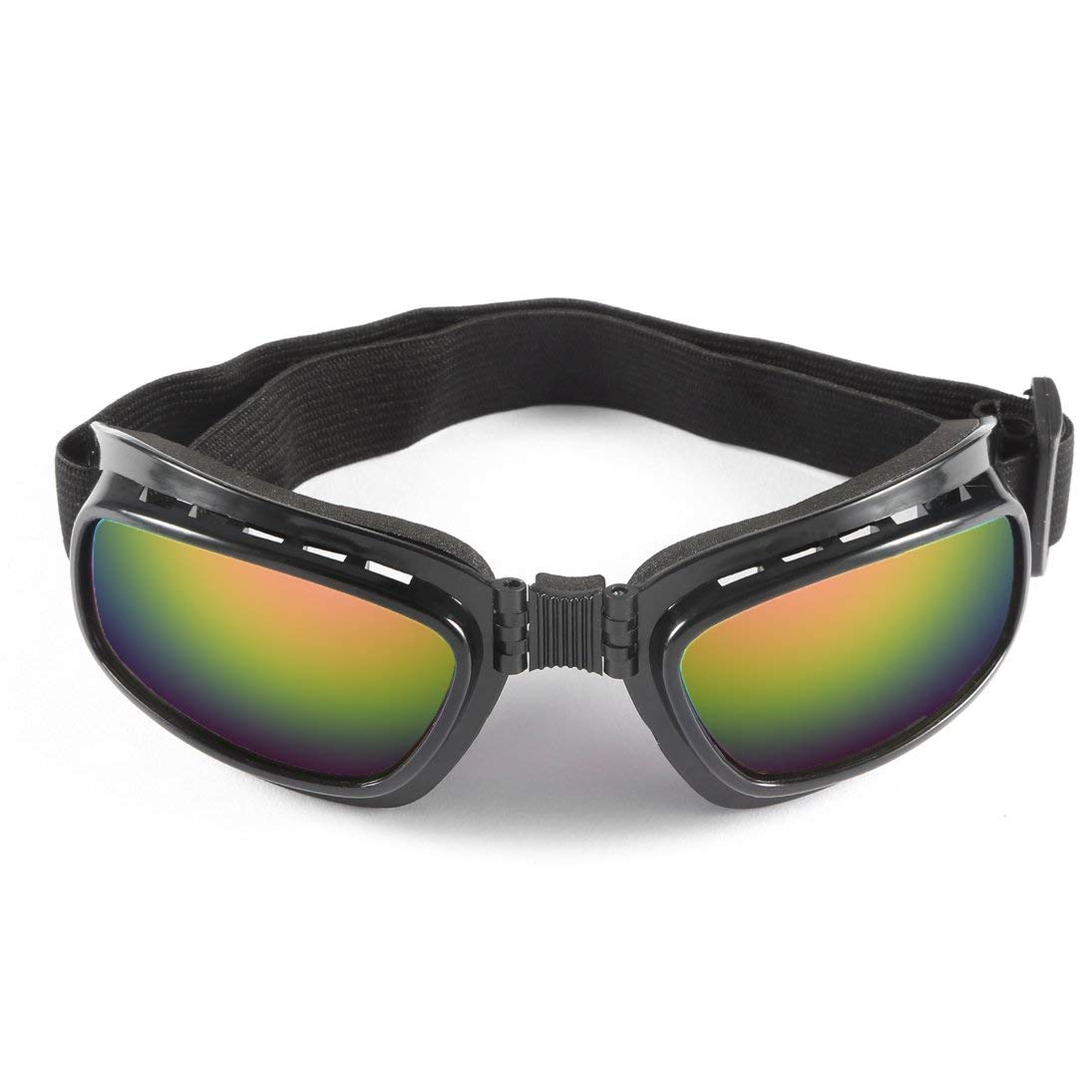 Baynne Folding Motorcycle Glasses Windproof Ski Goggles Off Road Racing Eyewear(Color:Black Frame and Colorful Lens)