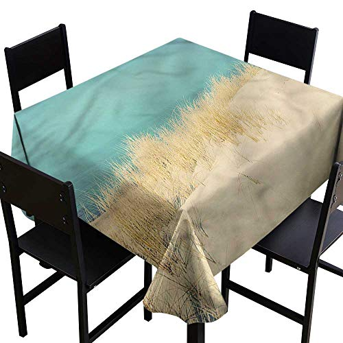 Anshesix Restaurant Tablecloth Modern Sand Dunes Beach Morning and Durable W60 xL60 Washable Polyester - Great for Buffet Table, Parties, Holiday Dinner, Wedding & More