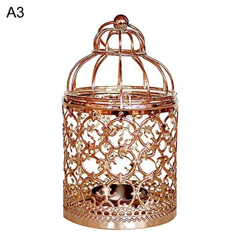 lightclub European Hollow Flower Hanging Iron Birdcage Candlestick Candle Stand Holder Rose ()