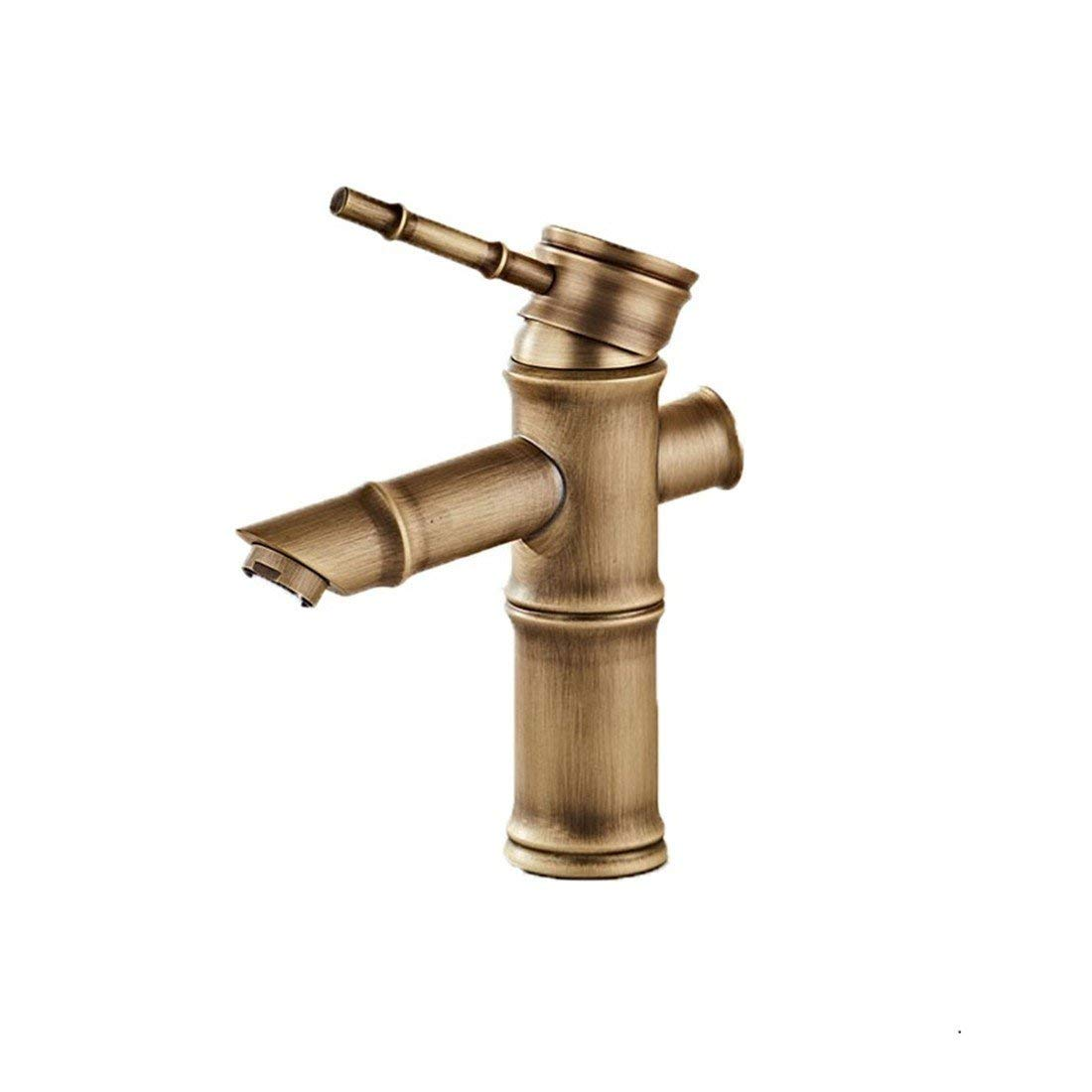 10 Oudan Basin Mixer Tap Bathroom Sink Faucet All copper antique faucet hot and cold basin vanity area with leading European surface Sinks Faucets antique bamboo brass faucets, B a cold (color   1)