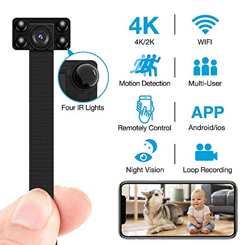 4K Hidden Camera WiFi Wireless with IR Night Vision, Seven Level Motion Detection and Loop Recording for iPhone/Android/PC Wireless Spy Home Security Nanny Cam