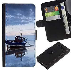 KingStore / Leather Etui en cuir / Samsung Galaxy S3 III I9300 / Naturaleza Mar Barco