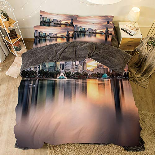 All Season Flannel Bedding Duvet Covers Sets for Girl Boy Kids 4-Piece Full for bed width 6.6ft Pattern by,American,USA Florida Downtown City Skyline View from the Lake Foggy Scenic Panorama,Teal Pe -