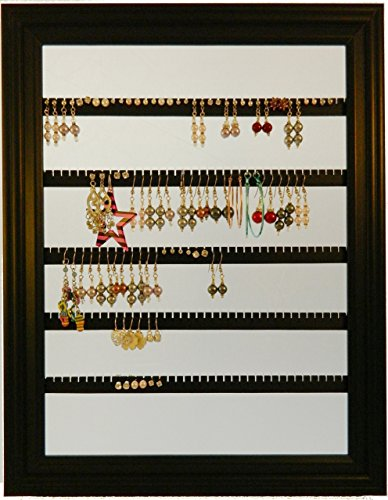 Earring Holder – Holds 100 pair – Made with a 10×13 Picture Frame – Lucky Day Designs – Available in 4 Colors – Black