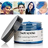 MOFAJANG Hair Coloring Dye Wax, Blue Instant Hair Wax, Temporary Hairstyle Cream 4.23 oz, Hair Pomades, Natural Hairstyle Wax for Men and Women Party Cosplay