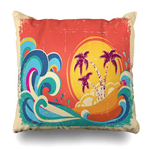 ArtsDecor Throw Pillow Covers Brown Yellow Hawaii Vintage Tropical On Old Nature Hawaiian Retro Beach Summer Splash Abstract Home Decor Cushion Square Size 18