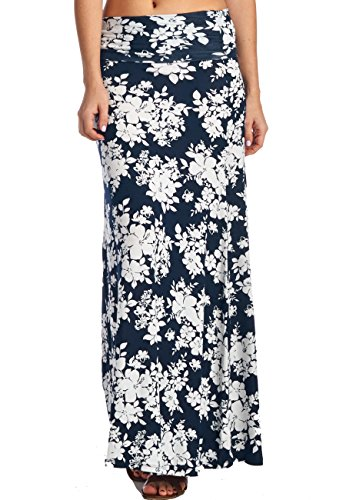 LeggingsQueen Women's High Waisted Rayon Spandex Printed Maxi Skirt (S2430-Navy+White, Large)
