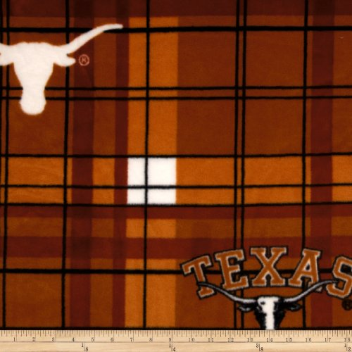 Sykel Enterprises Collegiate Fleece University of Texas Plaid Orange/White Fabric By The Yard (Longhorns Fabric Texas)