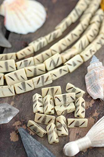 Pastel Yellow Triangle : Large Hole Handmade Carved Bone Beads, 7x17mm, Craft, Mala, Natural Boho Tribal Jewelry Making Supplies 12 pcs - Pastel 17 Mm