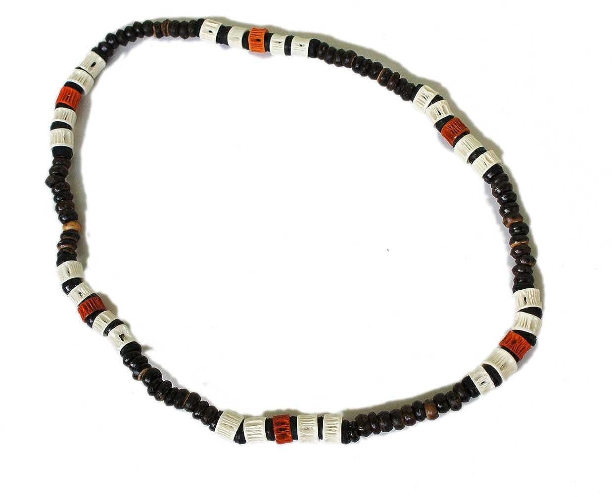 exoticdream Color Shark Bones Beads Surfer Beach Ocean Necklace Boy Men Hawaiian Coconut Natural Jewelry ELASBONE004