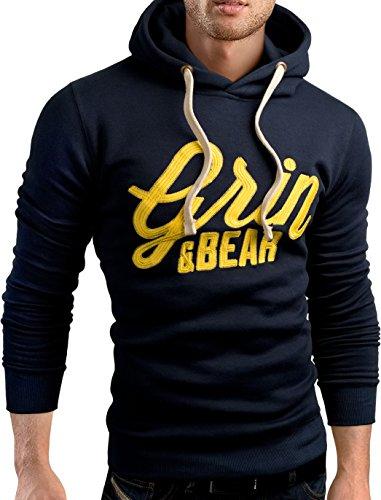 Grin&Bear slim fit Signatur Logo Jacke Kapuze Hoodie Sweatshirt Kapuzenpullover, navy, XL, GEC469