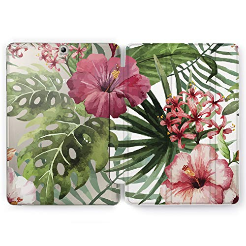 Wonder Wild Tropical Flowers Pretty Flowers Samsung Galaxy Tab S4 S2 S3 A E Smart Stand Case 2015 2016 2017 2018 Tablet Cover 8 9.6 9.7 10 10.1 10.5 Inch Clear Design Smart Stand Case Pink Tropical -