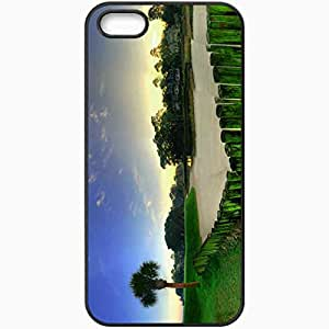 Unique Design Fashion Protective Back Cover For iPhone 5 5S Case Grass Trees Palm Trees Buildings Fences Sand Black