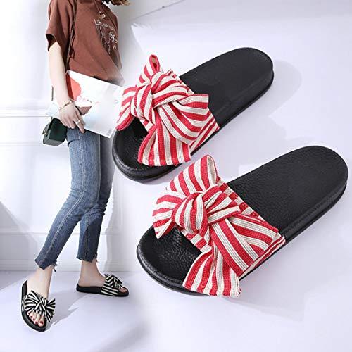 Slippers Outdoor Red Toe Realdo Bowknot Sandal Womens Shoes Flip Indoor Open Flops wInOwEaxqg