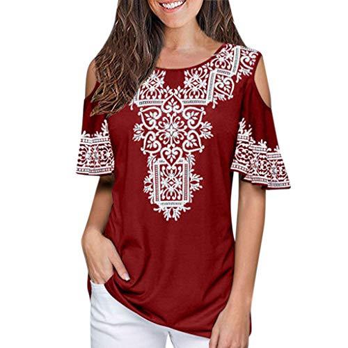 RIUDA Women Tassel Boho Round Neck Printed Short Sleeve Loose Blouse Shirt Top Red
