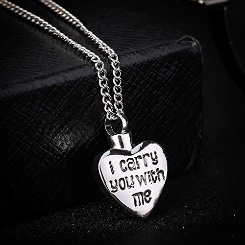 "- Euone  Necklace, I Carry You with me""Love Type Necklace Heart Shaped Pendant Urn Necklace"