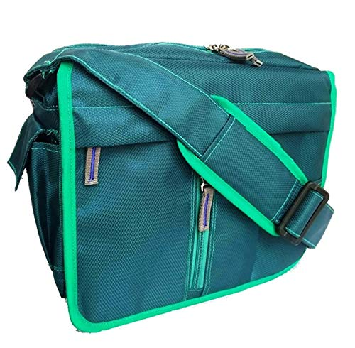 Polyster Crossbody Travel/Office/Business/Messenger Bag with Organiser Inside(12 x 10 x 4) inch (Sea_Green)