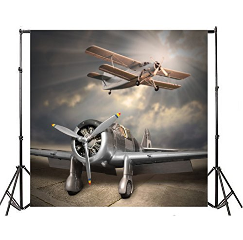 Yeele 10x10ft Aircraft Biplane Photo Backdrop Vinyl Airplane Wing propeller aeroplane Flying Photography Background Airplane Adult Pilot Baby Portrait Photo Booth Video Shoot Wallpaper Studio Props