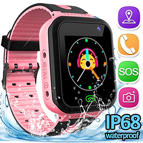 Kids Smart Phone Watch, 2019 Update IP68 Waterproof GPS Tracker Watch for Girls Boys Two-Way Call SOS Camera Digital Games Swim Camp Activity Tracker Learning Toy for Back to School Birthday Gifts