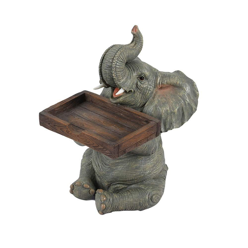 Wuliwu Creative Elephant Home Decoration Decoration, Business Card Box + Ashtray + Pen Holder Three Optional, Gray, Gold Two Colors, Resin Material, Beautiful and Practical