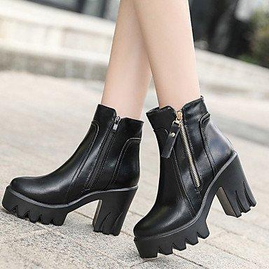 Best 4U? Women's Boots Comfort Fashion Boots Fall Winter Leatherette Casual Dress Zipper Chunky Heel Gray Black 3in-3 3 4in Grey B3ZuhUfE