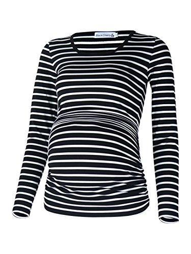 Long Sleeve Maternity Tee (BlackCherry Women's Long Sleeve Side Ruching Maternity Tunic Top T-shirt)