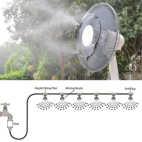 DMCSHOP Mist Cooling System - Garden Misting Irrigation System for Lawn, Patio Mister Flow Drip Outdoor Watering Cool System +10 Brass Nozzles 32.8FT (10M), Double Water Filters and Shut Off Valve by DMCSHOP (Image #7)