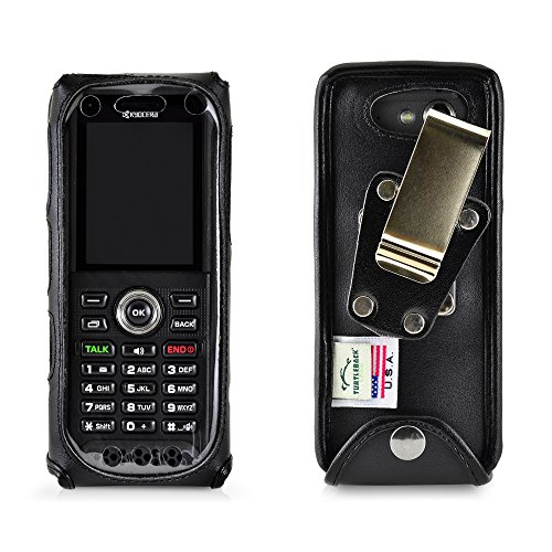 Turtleback Case Made for Kyocera DuraTR E4750 Phone Radio Black Leather Fitted Case with Heavy Duty Metal Ratcheting Removable Belt Clip