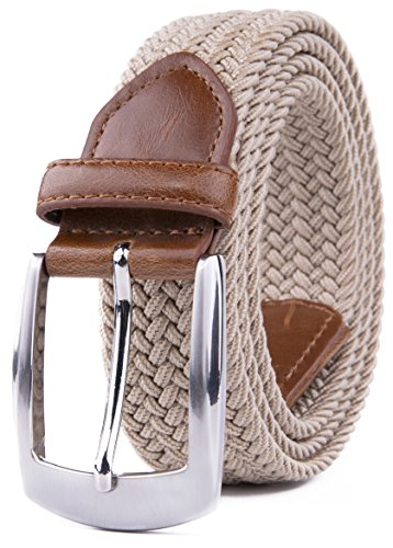 Elastic Fabric Woven Stretch Braided Belts (L, Beige) ()
