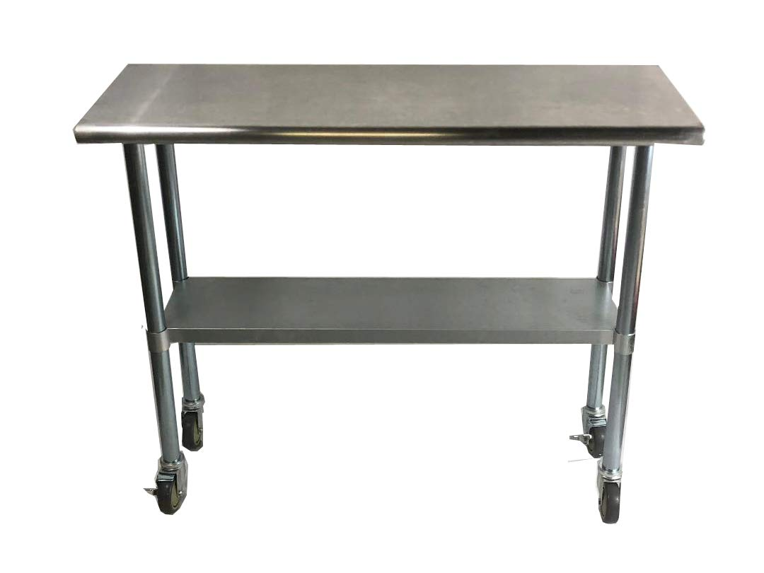 Work Table Food Prep 14 X 30 with Casters (Wheels) - Stainless Steel