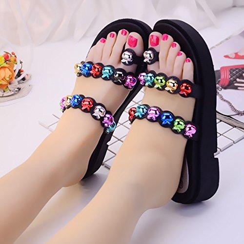 FankouRivet d'été Kit-toe chaussons chaussures femme vêtements épais, des pantoufles à talon haut ,35,A- cool, noir