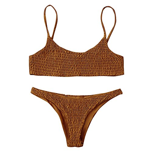 ZAFUL Women's Sexy Bathing Suit Solid Color Halter Shirred Bikini Swimsuit ()