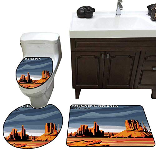 John Taylor Canyon Bathroom Rug Set Major Canyon Fantastic Shadows and Contrasts with Digital Added Dimesions Print bathmat Toilet mat Set Blue Orange