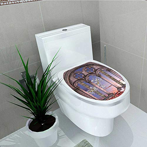(Analisa A. Houk Toilet Sticker Colonnade in Secret Garden at Enchanted Blue Lilac Dried Rose Home Decor Applique Papers W8 x L11)