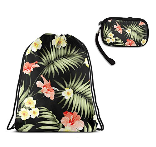 Sackpack Hawaii Flowers Palm Hiking Yoga Gym Travel Beach Rucksack
