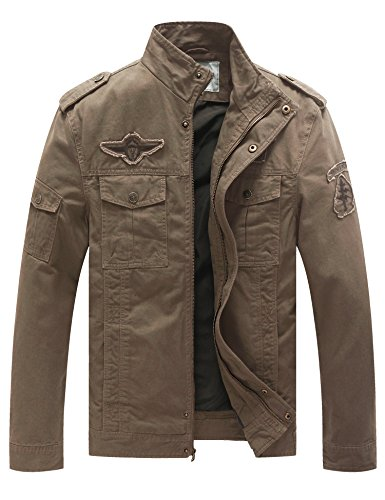 WenVen Men's Fashion Cotton Jackets (Khaki 1,US Size L/Asian Size XXXL) Image