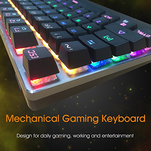 Kworld C430 Mechanical Gaming Keyboard Rainbow LED Backlit with Blue Switches, 104 Key Anti-ghosting with Preset Lighting Effects and Wrist Rest for PC & Mac, black
