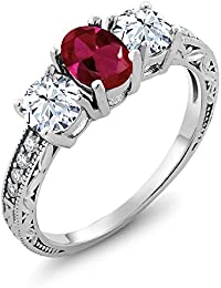 Red Created Ruby 925 Sterling Silver Women's 3-Stone Engagement Ring 2.52 Ctw Oval (Available 5,6,7,8,9)