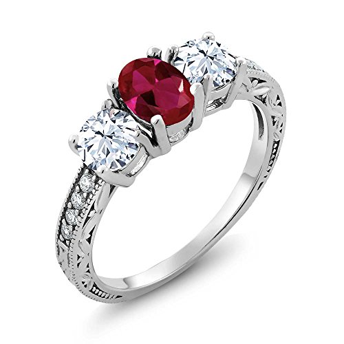 Ruby Womens Ring (2.52 Ct Oval Red Created Ruby 925 Sterling Silver Women's 3-Stone Engagement Ring (Ring Size 8))