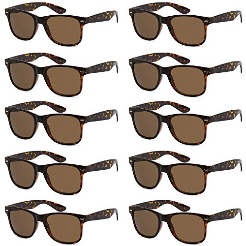 WHOLESALE UNISEX 80'S STYLE RETRO BULK LOT SUNGLASSES (Classic Tortoise, Brown)