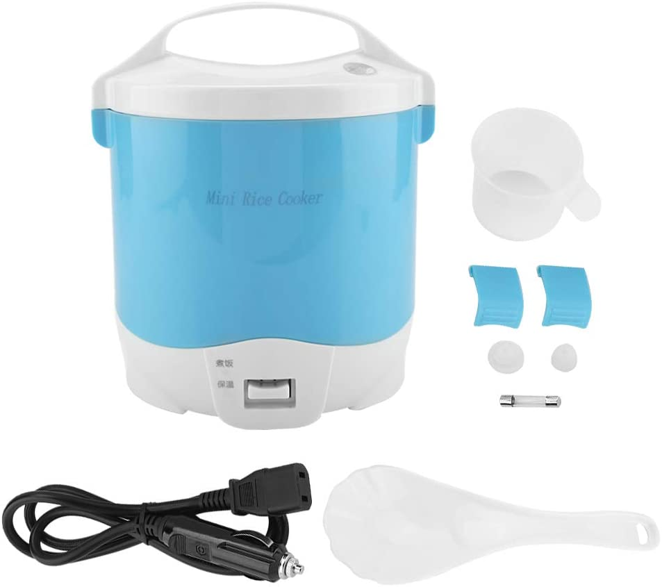 Electric Rice Cooker, 1.6L Travel Rice Cooker Small Removable Non-stick Pot & Keep Warm Function, Spatula & Measuring Cup, 24V 180W, for Cooking Soup, Rice, Stews, Grains & Oatmeal