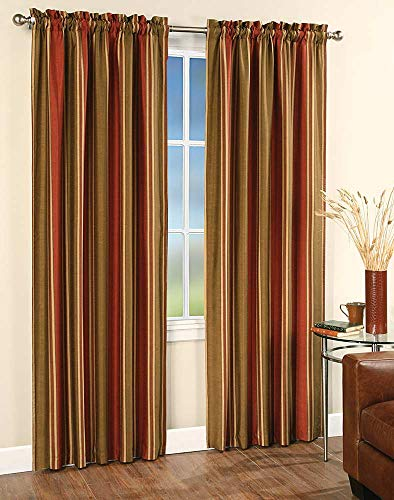 Faux Silk Stripe Lined Rod Pocket Curtain Panel