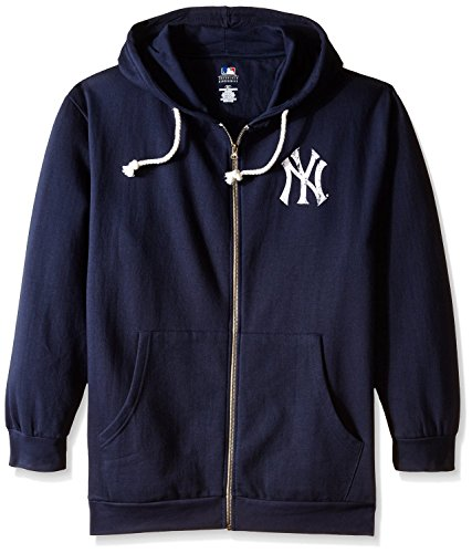 MLB New York Yankees Women's Plus Size Zip Hood with Logo, 1X, Navy